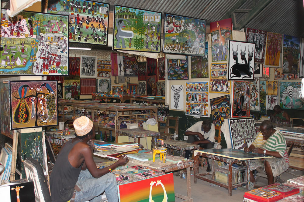 Man in Tinga Tinga art studio