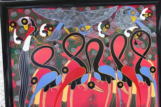 Tinga Tinga African Painting for Sale - Flamingos